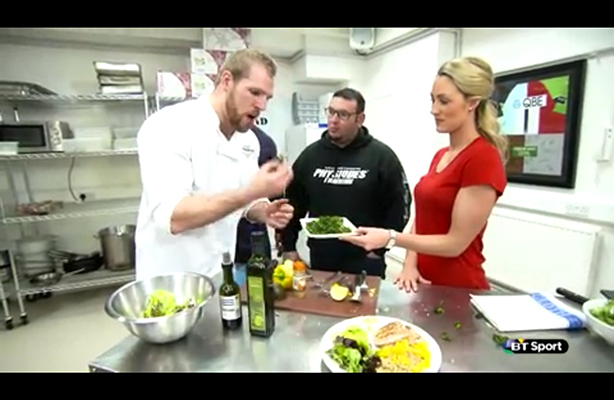 Caroline and James Haskel cook-off on BT Sport