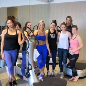 Caroline Pearce and fitness friends at Power Plate class at 'Train like a Gladiator' event