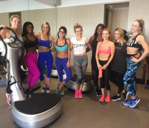 Caroline Pearce and class at Power Plate class at 'Train like a Gladiator' event